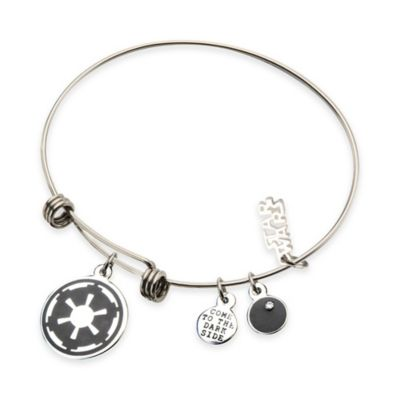 Star Wars™ Stainless Steel 7-1/2 Inch Imperial Symbol Charm Bangle Bracelet