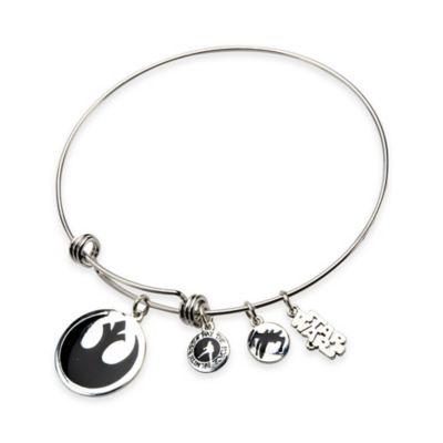 Star Wars™ Stainless Steel 7-1/2 Inch Rebel Symbol Charm Adjustable Bangle Bracelet