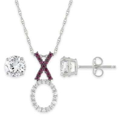 "Sterling Silver .80 cttw Created Ruby and White Sapphire ""XO"" Pendant Necklace and Earring Set"