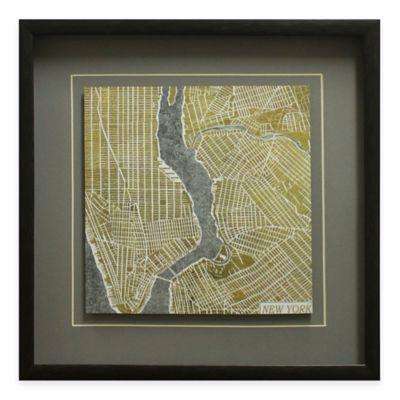 Gilded New York Map Framed Wall Art