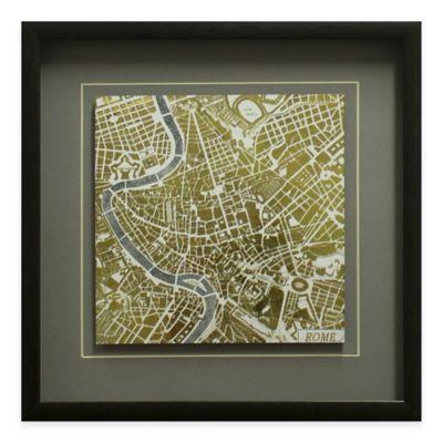 Gilded Rome Map Framed Wall Art
