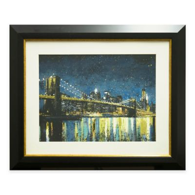 Bright City Lights Teal I Framed Wall Art