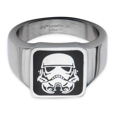 Star Wars™ Stainless Steel Size 8 Square Stormtrooper Ring