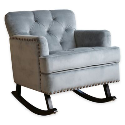 Abbyson Living® Thatcher Nursery Rocker with Nailhead Trim in Sapphire Blue