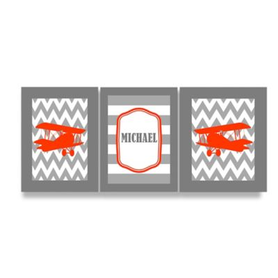 Stupell Grey Chevron with Planes Rectangular Wall Art