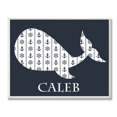 Stupell Navy Nautical Whale Oval Wall Art
