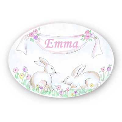Stupell White Bunnies Oval Wall Art