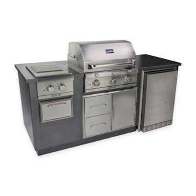 Saber® EZ Outdoor Kitchen with Fridge in Silver