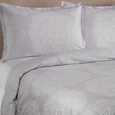 Barbara Barry® Lace Crystal Full/Queen Duvet Cover in Frost