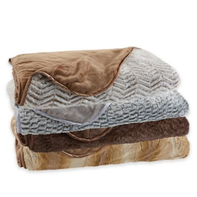 Brookstone Reversible Faux Fur Nap Throw Blanket in Taupe