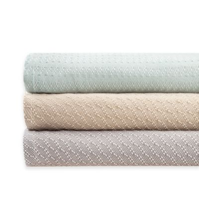 Premier Comfort Belmont Yarn-Dyed Liquid Cotton Twin Blanket in Seafoam/White