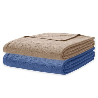 Premier Comfort Freshspun Twin Cotton Blanket in Navy