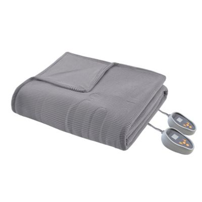 Beautyrest Ribbed Heated Microfleece Full Heated Blanket in Grey