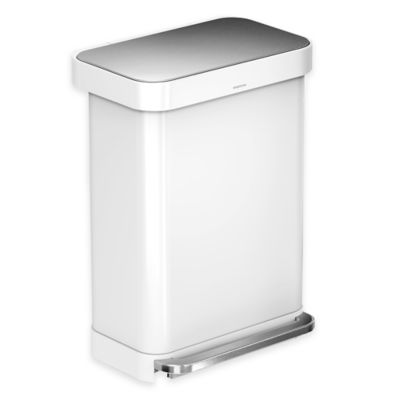 simplehuman® 55-Liter Rectangular Step Can with Liner Pocket in White