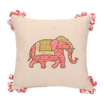 Jessica Simpson Amrita Medallion Elephant Square Throw Pillow in Coral