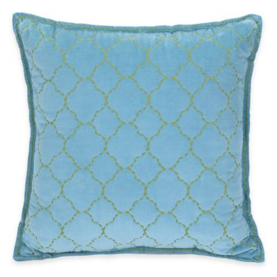 Jessica Simpson Amrita Medallion Trellis Velvet Square Throw Pillow in Blue