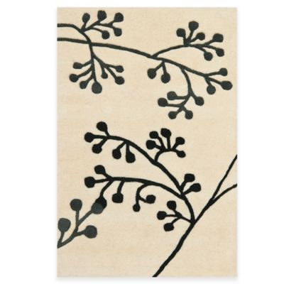 Safavieh Soho Ivory and Gray Botanical Wool 3-Foot 6-Inch x 5-Foot 6-Inch Rectangle Rug
