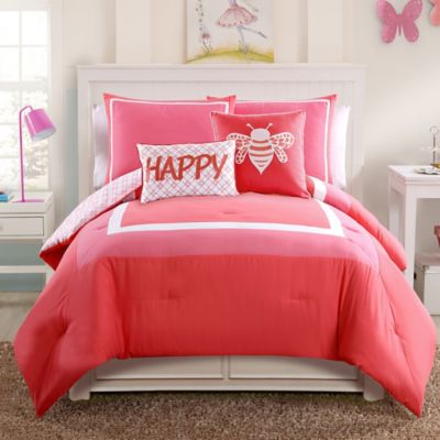 Hotel Juvi 4-Piece Twin Comforter Set in Coral