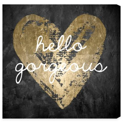 """Hello Gorgeous"" Wall Art in Black/Gold"