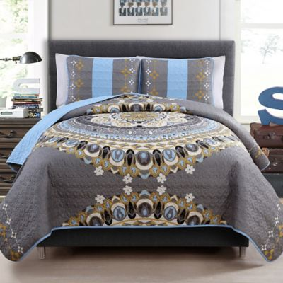 Marrakech Reversible Twin Quilt Set in Grey