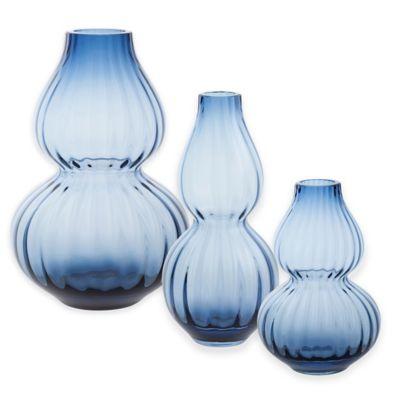 Dartington Crystal 8-Inch Gourd Vase in Ink Blue