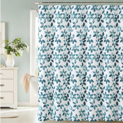 Teal/White Shower Curtains