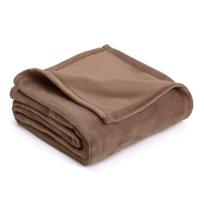 Vellux Twin Plush Blanket in Taupe