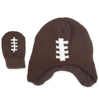 Rising Star Toddler 2-Piece Football Hat and Mitten Set in Brown