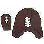 Rising Star Newborn 2-Piece Football Hat and Mitten Set in Brown