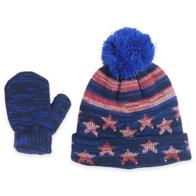 Navy Hat and Mitten Set