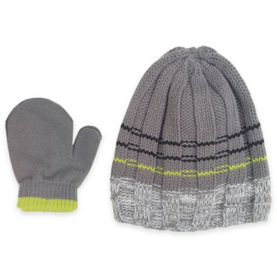 Rising Star Toddler 2-Piece Marled Hat and Mitten Set in Grey