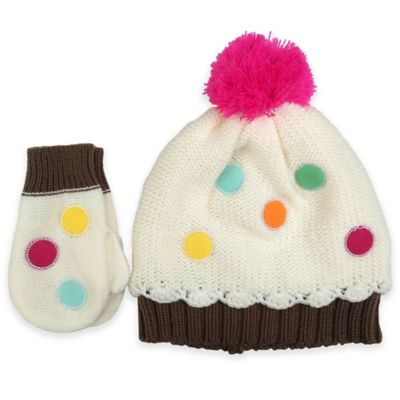 Rising Star™ Toddler Cup Cake Knit Hat and Mitten Set in Ivory