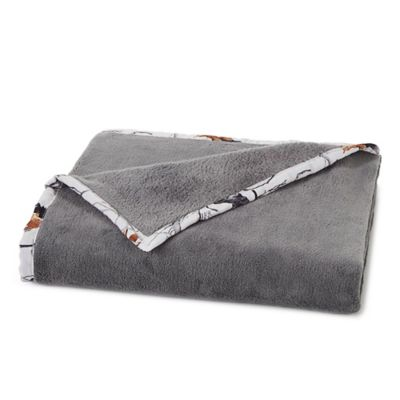 True Timber Plush Throw Blanket in Grey