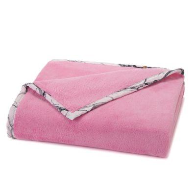 True Timber Plush Throw Blanket in Pink