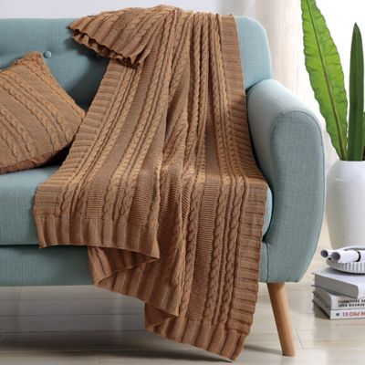 Camel Knit Throws