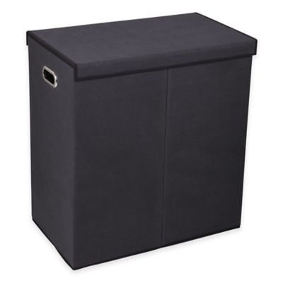 Household Essentials® Collapsible 2-Compartment Laundry Hamper in Black