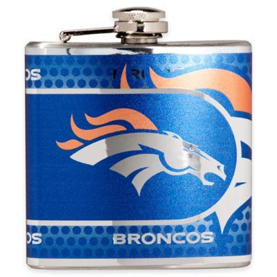 NFL Denver Broncos Stainless Steel Metallic Hip Flask