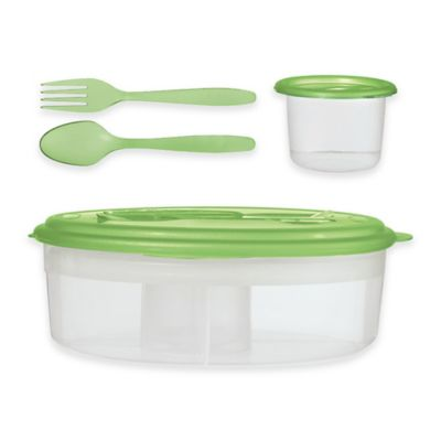 Oggi™ Chill-to-Go 7-Piece Oval Food Container Set with Compartments in Green