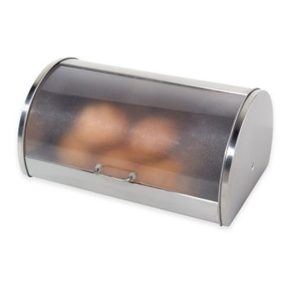 Oggi™ Stainless Steel Roll Top Bread Box with Frosted Lid