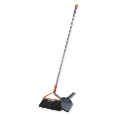 Casabella® 2-Piece XL Broom and Dustpan Set in Graphite Orange