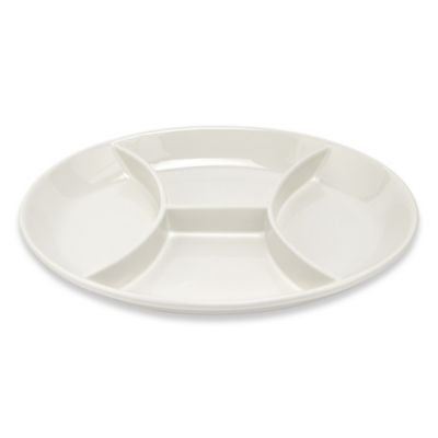 Lorren Home Trends White 4-Section Divided Platter