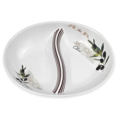 Lorren Home Trends Olive Branch 2-Section Divided Dish
