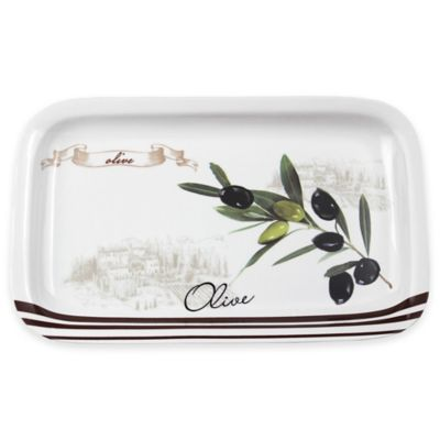 Lorren Home Trends Olive Branch Rectangular Serving Tray
