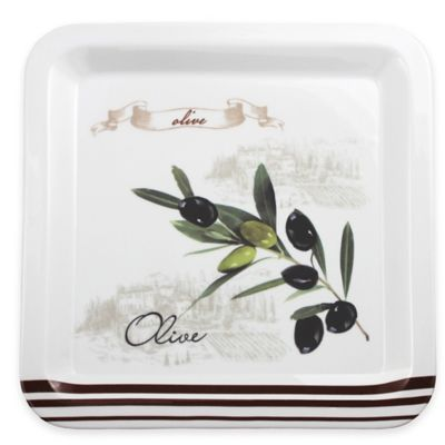 Lorren Home Trends Olive Branch Square Dinner Plate