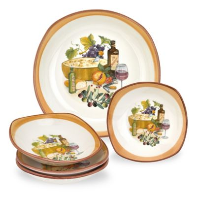 Lorren Home Trends Mona Lisa 5-Piece Square Pasta Set