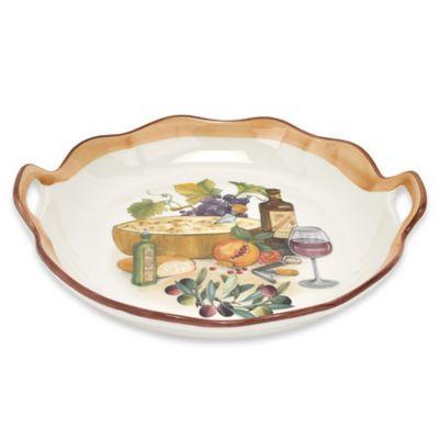 Lorren Home Trends Mona Lisa 15-Inch Handled Oval Platter