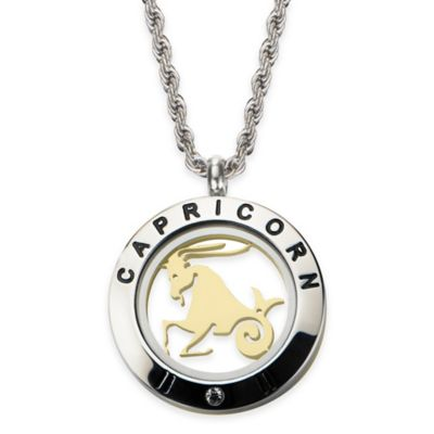 INOX® Two-Tone Stainless Steel 22-Inch Chain 4-Way Capricorn Zodiac Sign Pendant Necklace