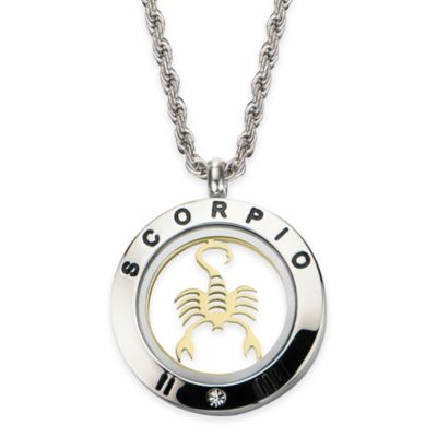 INOX® Two-Tone Stainless Steel 22-Inch Chain 4-Way Scorpio Zodiac Sign Pendant Necklace