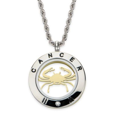INOX® Two-Tone Stainless Steel 22-Inch Chain 4-Way Cancer Zodiac Sign Pendant Necklace