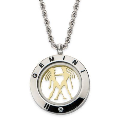 INOX® Two-Tone Stainless Steel 22-Inch Chain 4-Way Gemini Zodiac Sign Pendant Necklace